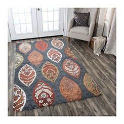 Gray and Multicolor Reso Medallion Area Rug, 8x10