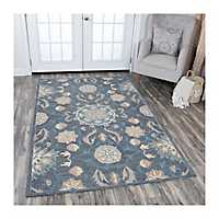Blue Gray Reso Floral Area Rug, 5x8