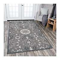 Dark Taupe Reso Floral Area Rug, 5x8