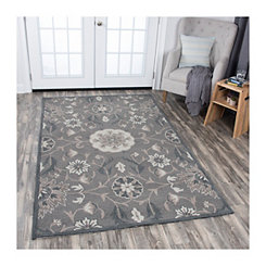 Dark Taupe Reso Floral Area Rug, 8x10