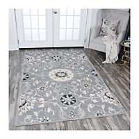 Gray Reso Floral Area Rug, 8x10