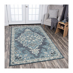 Dark Gray and Blue Reso Medallion Area Rug, 8x10