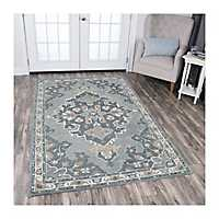 Gray Reso Central Medallion Area Rug, 5x8