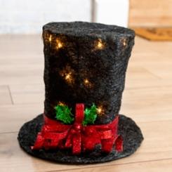 Pre-Lit Black Sisal Christmas Top Hat