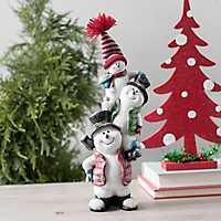 Stacked Snowmen Christmas Statue