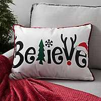Decorative Letter Believe Velvet Accent Pillow