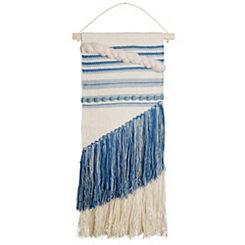 Blue Woven Tassel Macrame Wall Hanging