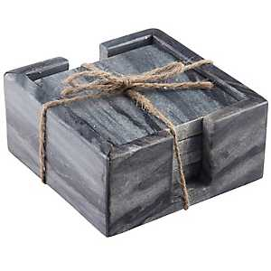 Gray Marble Coasters with Caddy, Set of 4