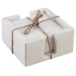 White Marble Coasters with Caddy, Set of 4