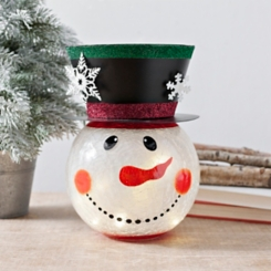 Pre-Lit Snowman Head Statue with Top Hat