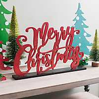 Red Glitter Merry Christmas Tabletop Sign