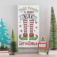 LED Elf Surveillance Christmas Plaque