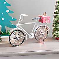 LED Bicycle with Presents Tabletop Statue