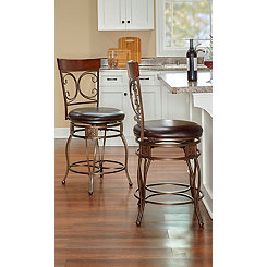 Brown Metal Scroll Counter Stool