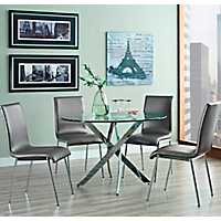 Round Glass Top Chrome Base Table 5 Pc. Dining Set