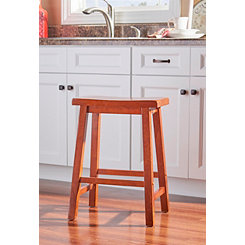 Honey Brown Saddle Seat Counter Stool
