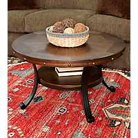 Forrester Round Wood and Metal Coffee Table