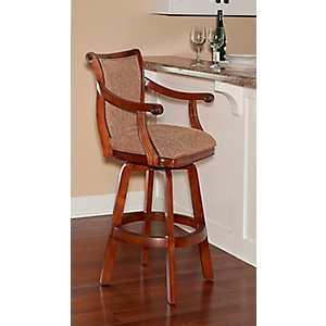 Brown Fabric Seat Swivel Bar Stool