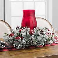 Flocked Pine Red Hurricane Christmas Centerpiece