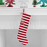 Red and White Stripe Patterned Knit Stocking