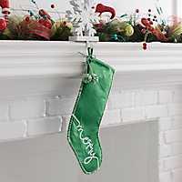 Green Merry Pom Pom Velvet Stocking