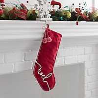 Red Noel Pom Pom Velvet Stocking