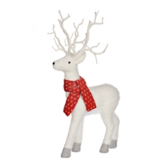 White Deer with Red Scarf Statue