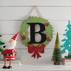 Wreath and Red Bow Monogram B Christmas Plaque