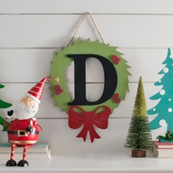 Wreath and Red Bow Monogram D Christmas Plaque