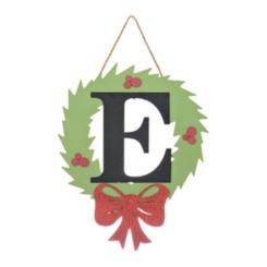 Wreath and Red Bow Monogram E Christmas Plaque