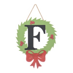 Wreath and Red Bow Monogram F Christmas Plaque