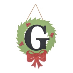 Wreath and Red Bow Monogram G Christmas Plaque