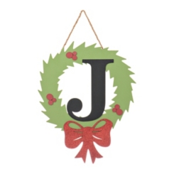 Wreath and Red Bow Monogram J Christmas Plaque