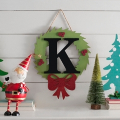 Wreath and Red Bow Monogram K Christmas Plaque