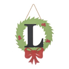 Wreath and Red Bow Monogram L Christmas Plaque