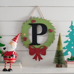 Wreath and Red Bow Monogram P Christmas Plaque