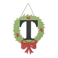 Wreath and Red Bow Monogram T Christmas Plaque