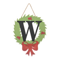 Wreath and Red Bow Monogram W Christmas Plaque