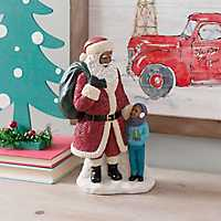 African American Santa With Boy Figurine