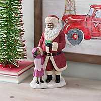 African American Santa With Girl Figurine