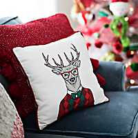 Hipster Reindeer with Red Sweater Pillow