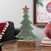 Wood and Metal Neon LED Tree Statue