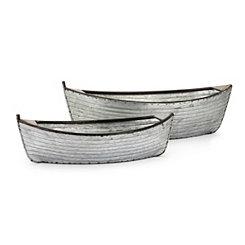 Galvanized Boat Planters, Set of 2
