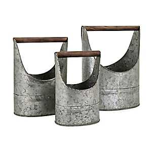 Metal Planter with Wooden Handle, Set of 3