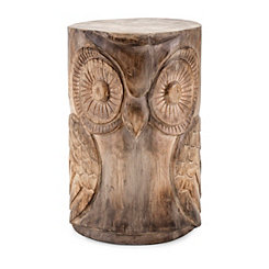 Hand Carved Natural Wood Finish Owl Stool