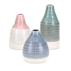 Multicolor Emmy Half Dipped Vases, Set of 3