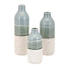 Green and Cream Ceramic Dahlia Vases, Set of 3