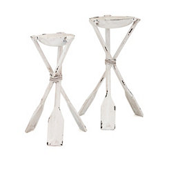 Iron Tiana Oar Leg Candle Holders, Set of 2