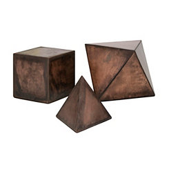 Hopkin Geometric Iron Desk Statues, Set of 3