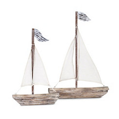 Wooden Statuary Sailboat, Set of 2